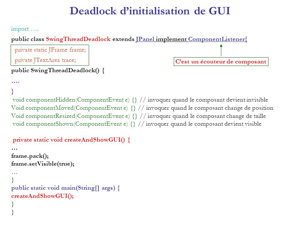 Deadlock dinitialisation de GUI import …. public class SwingThreadDeadlock extends JPanel implement ComponentListener{ private static JFrame frame; pr