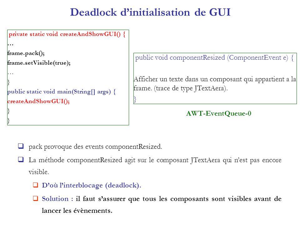 Deadlock dinitialisation de GUI private static void createAndShowGUI() { … frame.pack(); frame.setVisible(true); … } public static void main(String[]