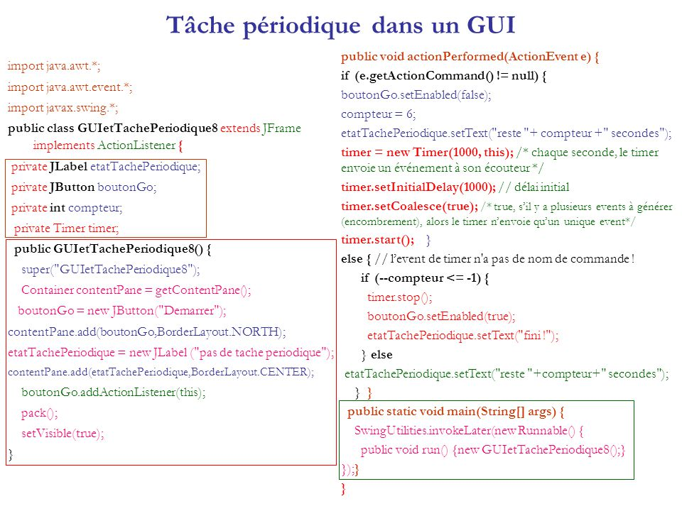 import java.awt.*; import java.awt.event.*; import javax.swing.*; public class GUIetTachePeriodique8 extends JFrame implements ActionListener { privat
