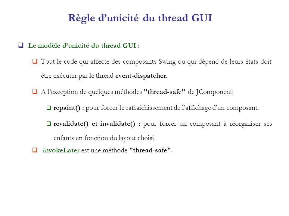 Règle dunicité du thread GUI Le modèle dunicité du thread GUI : Tout le code qui affecte des composants Swing ou qui dépend de leurs états doit être e