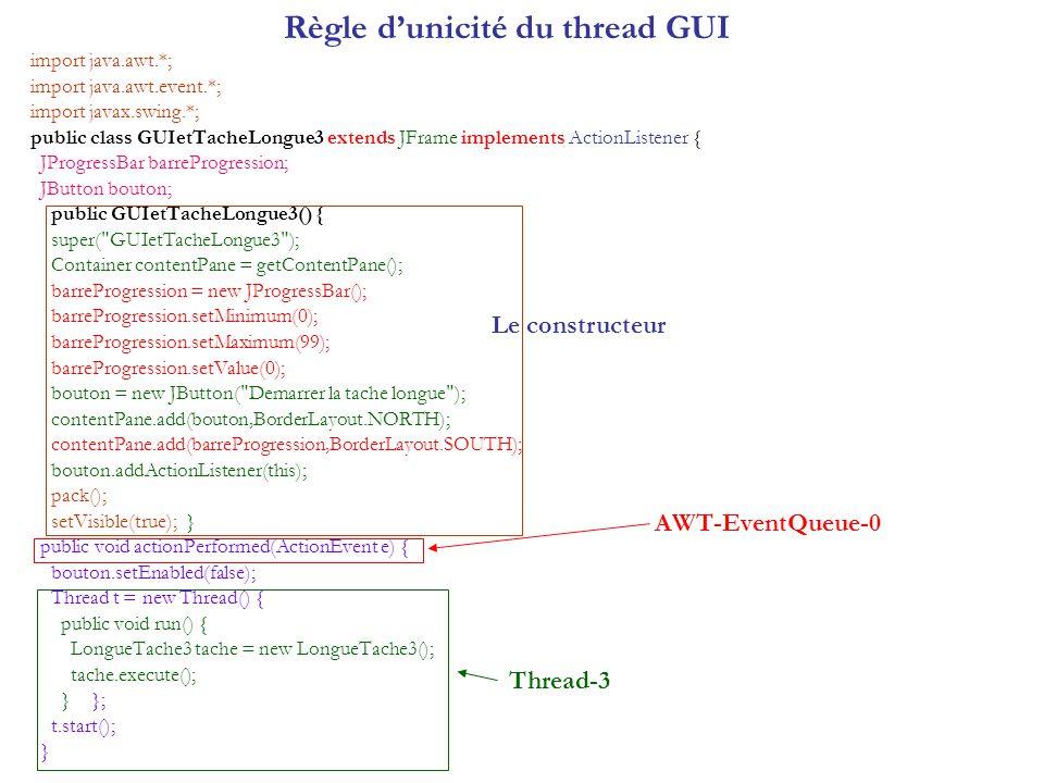 Règle dunicité du thread GUI import java.awt.*; import java.awt.event.*; import javax.swing.*; public class GUIetTacheLongue3 extends JFrame implement