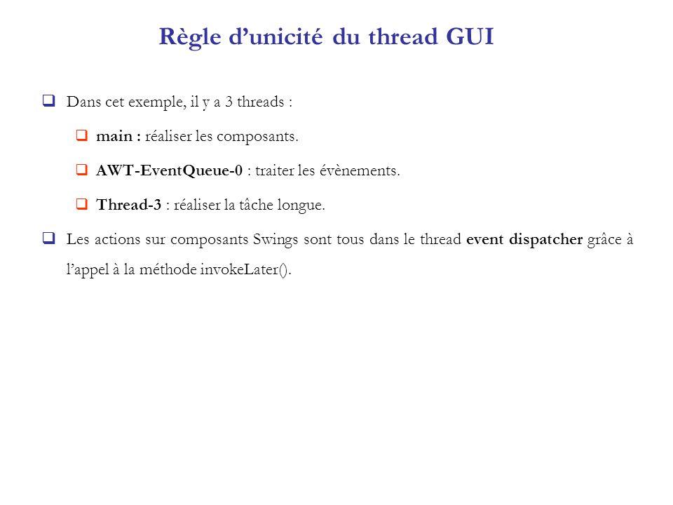 Règle dunicité du thread GUI Dans cet exemple, il y a 3 threads : main : réaliser les composants. AWT-EventQueue-0 : traiter les évènements. Thread-3