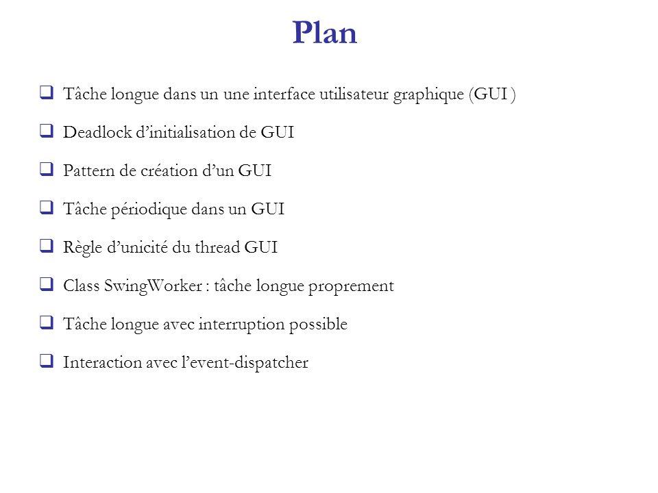Plan Tâche longue dans un une interface utilisateur graphique (GUI ) Deadlock dinitialisation de GUI Pattern de création dun GUI Tâche périodique dans