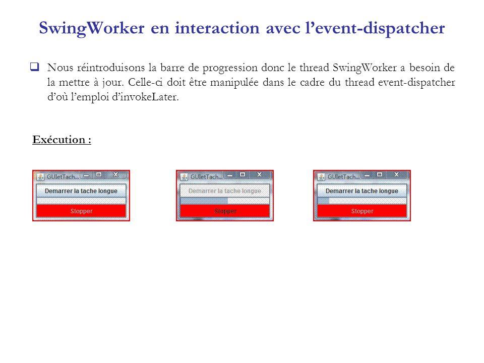 SwingWorker en interaction avec levent-dispatcher Nous réintroduisons la barre de progression donc le thread SwingWorker a besoin de la mettre à jour.