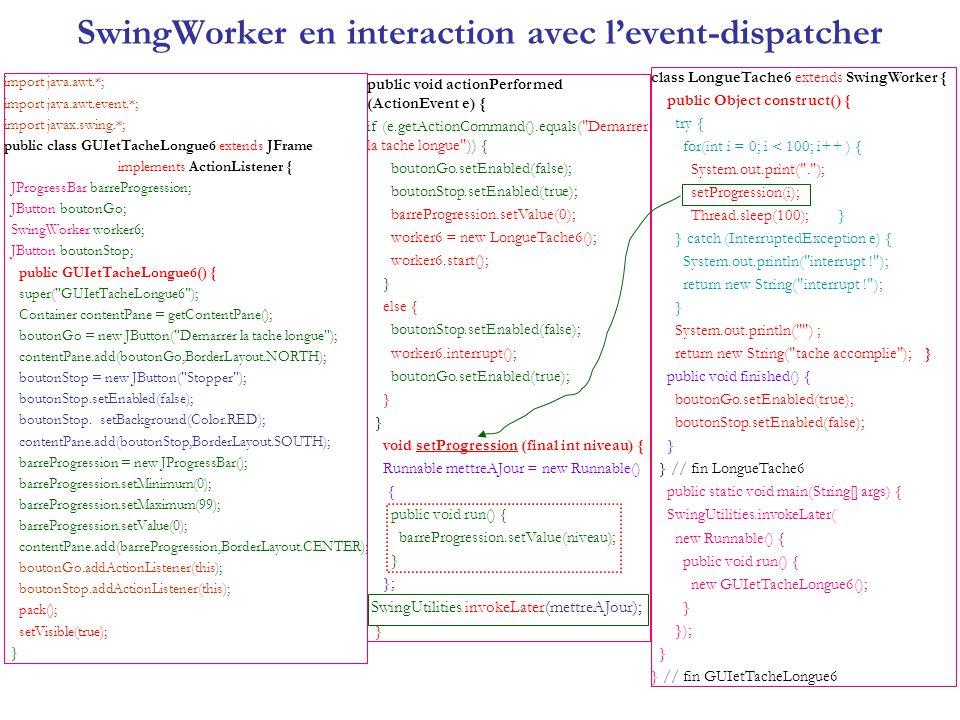 SwingWorker en interaction avec levent-dispatcher import java.awt.*; import java.awt.event.*; import javax.swing.*; public class GUIetTacheLongue6 ext
