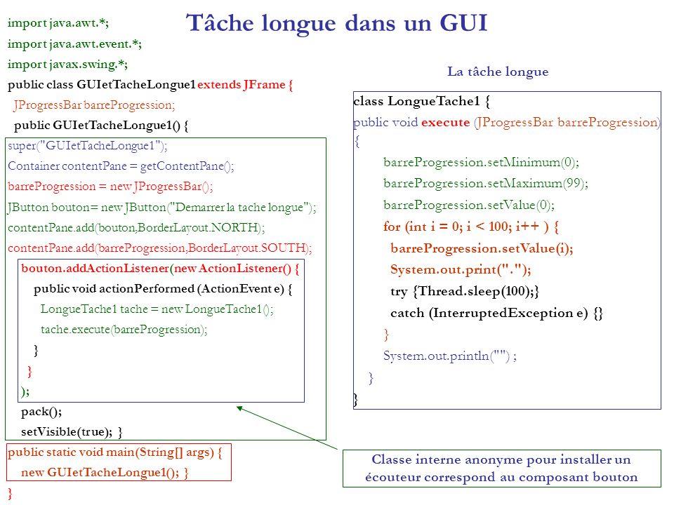 SwingWorker en interaction avec levent-dispatcher import java.awt.*; import java.awt.event.*; import javax.swing.*; public class GUIetTacheLongue6 extends JFrame implements ActionListener { JProgressBar barreProgression; JButton boutonGo; SwingWorker worker6; JButton boutonStop; public GUIetTacheLongue6() { super( GUIetTacheLongue6 ); Container contentPane = getContentPane(); boutonGo = new JButton( Demarrer la tache longue ); contentPane.add(boutonGo,BorderLayout.NORTH); boutonStop = new JButton( Stopper ); boutonStop.setEnabled(false); boutonStop.setBackground(Color.RED); contentPane.add(boutonStop,BorderLayout.SOUTH); barreProgression = new JProgressBar(); barreProgression.setMinimum(0); barreProgression.setMaximum(99); barreProgression.setValue(0); contentPane.add(barreProgression,BorderLayout.CENTER); boutonGo.addActionListener(this); boutonStop.addActionListener(this); pack(); setVisible(true); } public void actionPerformed (ActionEvent e) { if (e.getActionCommand().equals( Demarrer la tache longue )) { boutonGo.setEnabled(false); boutonStop.setEnabled(true); barreProgression.setValue(0); worker6 = new LongueTache6(); worker6.start(); } else { boutonStop.setEnabled(false); worker6.interrupt(); boutonGo.setEnabled(true); } void setProgression (final int niveau) { Runnable mettreAJour = new Runnable() { public void run() { barreProgression.setValue(niveau); } }; SwingUtilities.invokeLater(mettreAJour); } class LongueTache6 extends SwingWorker { public Object construct() { try { for(int i = 0; i < 100; i++ ) { System.out.print( . ); setProgression(i); Thread.sleep(100); } } catch (InterruptedException e) { System.out.println( interrupt ! ); return new String( interrupt ! ); } System.out.println( ) ; return new String( tache accomplie ); } public void finished() { boutonGo.setEnabled(true); boutonStop.setEnabled(false); } } // fin LongueTache6 public static void main(String[] args) { SwingUtilities.invokeLater( new Runnable() { public void run() { new GUIetTacheLo