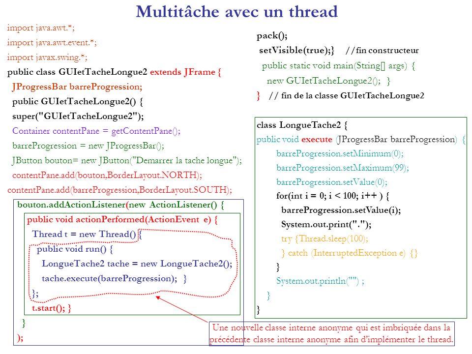 Règle dunicité du thread GUI class LongueTache3 { public void execute() { for (int i = 0; i < 100; i++ ) { setProgression(i); System.out.print( . ); try {Thread.sleep (100);} catch (InterruptedException e) {} } System.out.println( ) ; reset(); } void setProgression (final int niveau ) { Runnable mettreAJourProgression = new Runnable() { public void run() { barreProgression.setValue (niveau); } }; SwingUtilities.invokeLater(mettreAJourProgression); } void reset() { Runnable remettreAZero = new Runnable() { public void run() { barreProgression.setValue(0); bouton.setEnabled(true); } }; SwingUtilities.invokeLater(remettreAZero); } AWT-EventQueue-0 public static void main(String[] args) { SwingUtilities.invokeLater(new Runnable() { public void run() { new GUIetTacheLongue3(); } }); } Exécution: