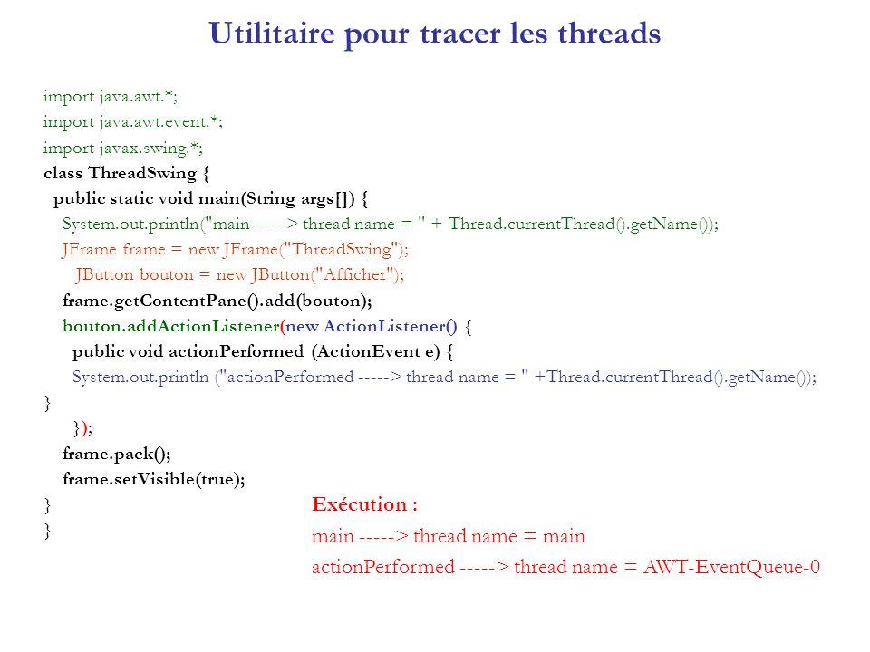 Utilitaire pour tracer les threads Ce code sexécute sur 2 threads : main pour pack, setVisible (réaliser les composants).