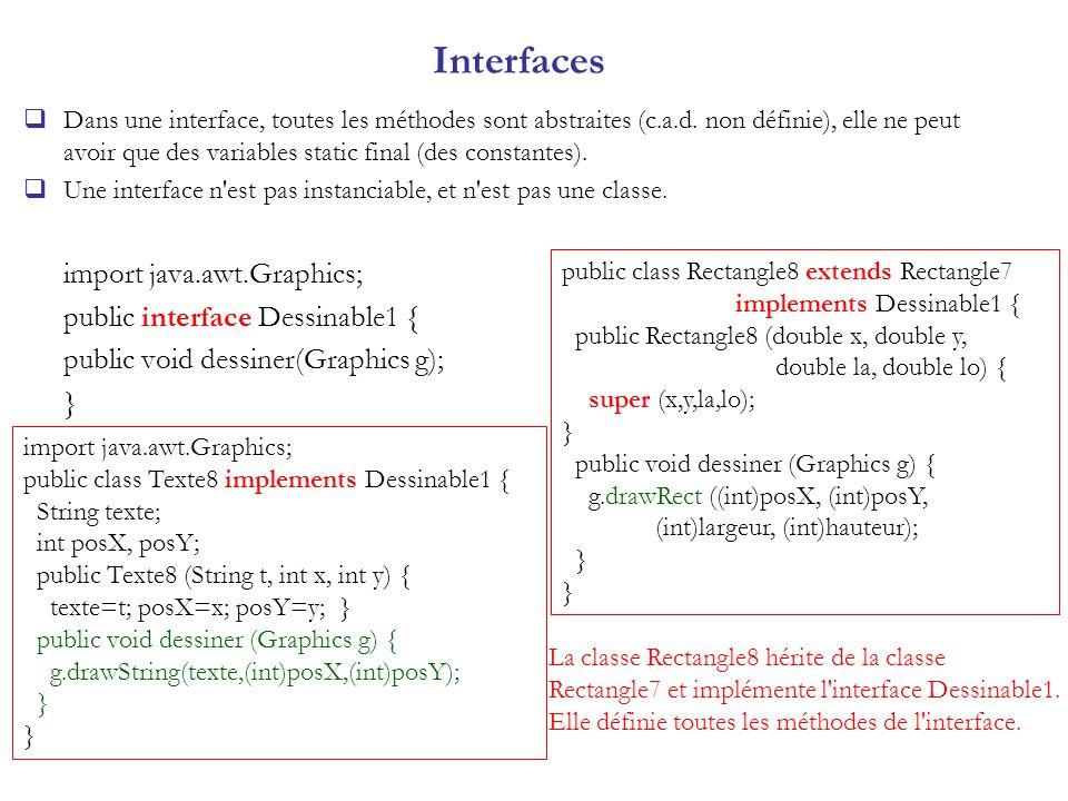 Interfaces Dans une interface, toutes les méthodes sont abstraites (c.a.d. non définie), elle ne peut avoir que des variables static final (des consta