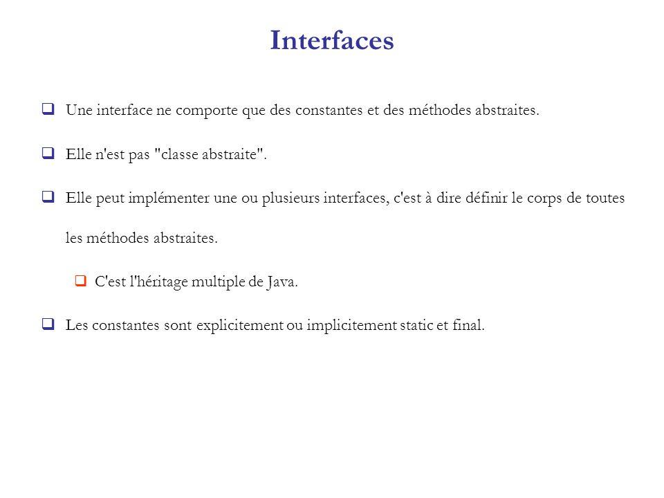 Interfaces Une interface ne comporte que des constantes et des méthodes abstraites. Elle n'est pas