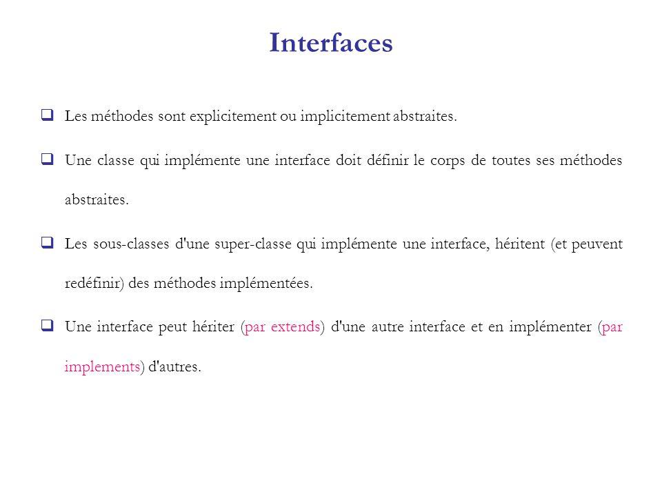 Interfaces Les méthodes sont explicitement ou implicitement abstraites. Une classe qui implémente une interface doit définir le corps de toutes ses mé