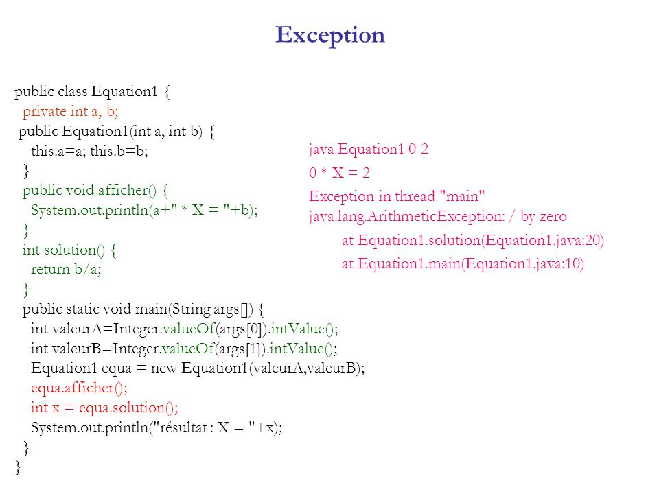 Exception public class Equation1 { private int a, b; public Equation1(int a, int b) { this.a=a; this.b=b; } public void afficher() { System.out.printl