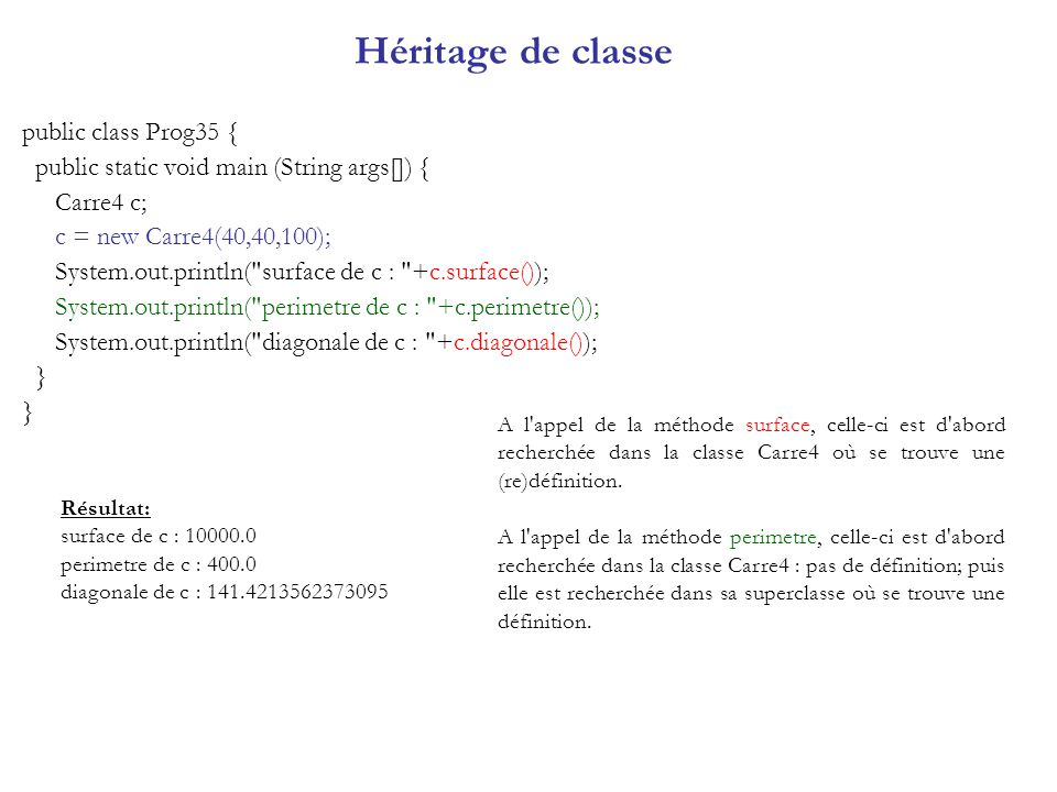 Héritage de classe public class Prog35 { public static void main (String args[]) { Carre4 c; c = new Carre4(40,40,100); System.out.println(