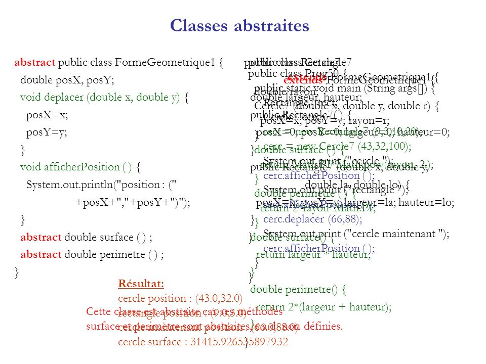 Classe Number public abstract class Number extends Object implements Serializable Cest la classe mère de plusieurs classes: BigDecimal, BigInteger, Byte, Double, Float, Integer, Long, Short, Character, Boolean.