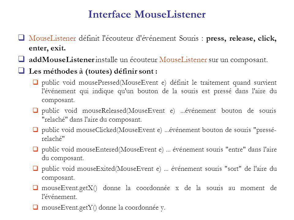 Interface MouseListener MouseListener définit l écouteur d événement Souris : press, release, click, enter, exit.