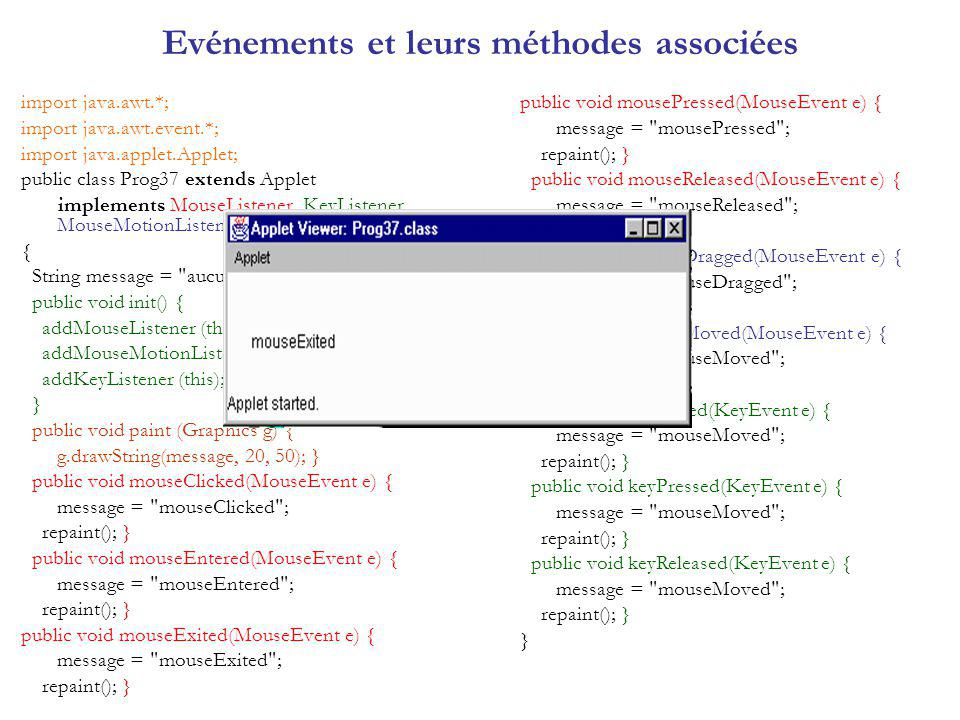 Evénements et leurs méthodes associées import java.awt.*; import java.awt.event.*; import java.applet.Applet; public class Prog37 extends Applet implements MouseListener, KeyListener, MouseMotionListener { String message = aucun ; public void init() { addMouseListener (this); addMouseMotionListener (this); addKeyListener (this); } public void paint (Graphics g) { g.drawString(message, 20, 50); } public void mouseClicked(MouseEvent e) { message = mouseClicked ; repaint(); } public void mouseEntered(MouseEvent e) { message = mouseEntered ; repaint(); } public void mouseExited(MouseEvent e) { message = mouseExited ; repaint(); } public void mousePressed(MouseEvent e) { message = mousePressed ; repaint(); } public void mouseReleased(MouseEvent e) { message = mouseReleased ; repaint(); } public void mouseDragged(MouseEvent e) { message = mouseDragged ; repaint(); } public void mouseMoved(MouseEvent e) { message = mouseMoved ; repaint(); } public void keyTyped(KeyEvent e) { message = mouseMoved ; repaint(); } public void keyPressed(KeyEvent e) { message = mouseMoved ; repaint(); } public void keyReleased(KeyEvent e) { message = mouseMoved ; repaint(); } }