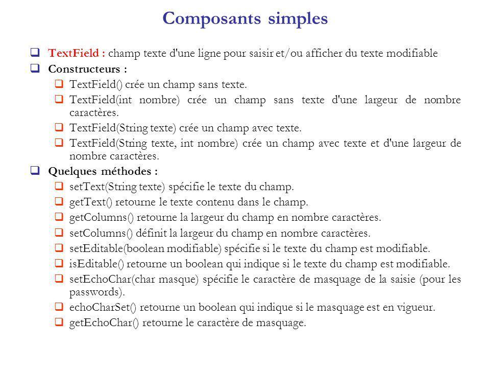 TextField : champ texte d une ligne pour saisir et/ou afficher du texte modifiable Constructeurs : TextField() crée un champ sans texte.