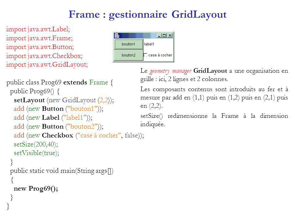 Frame : gestionnaire GridLayout import java.awt.Label; import java.awt.Frame; import java.awt.Button; import java.awt.Checkbox; import java.awt.GridLayout; public class Prog69 extends Frame { public Prog69() { setLayout (new GridLayout (2,2)); add (new Button ( bouton1 )); add (new Label ( label1 )); add (new Button ( bouton2 )); add (new Checkbox ( case à cocher , false)); setSize(200,40); setVisible(true); } public static void main(String args[]) { new Prog69(); } Le geometry manager GridLayout a une organisation en grille : ici, 2 lignes et 2 colonnes.