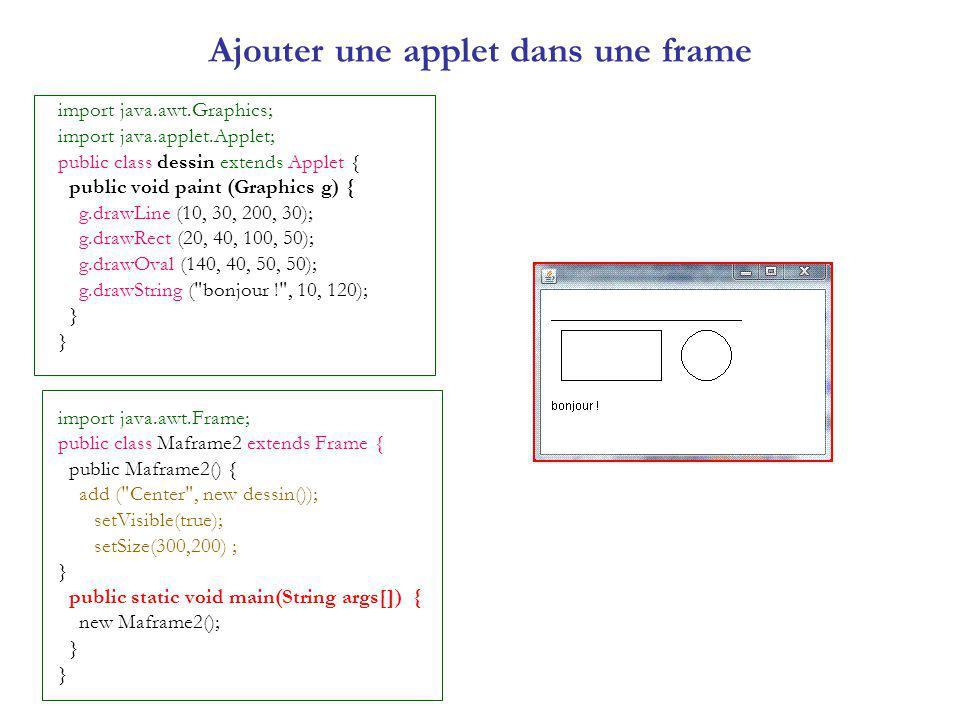 Ajouter une applet dans une frame import java.awt.Graphics; import java.applet.Applet; public class dessin extends Applet { public void paint (Graphics g) { g.drawLine (10, 30, 200, 30); g.drawRect (20, 40, 100, 50); g.drawOval (140, 40, 50, 50); g.drawString ( bonjour ! , 10, 120); } import java.awt.Frame; public class Maframe2 extends Frame { public Maframe2() { add ( Center , new dessin()); setVisible(true); setSize(300,200) ; } public static void main(String args[]) { new Maframe2(); }