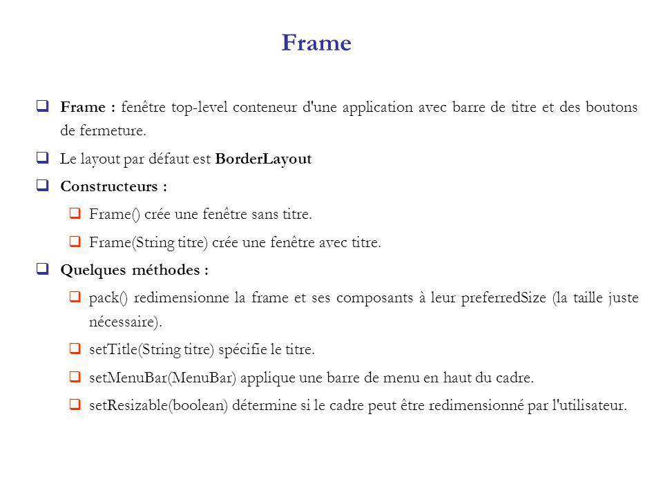 Frame Frame : fenêtre top-level conteneur d une application avec barre de titre et des boutons de fermeture.