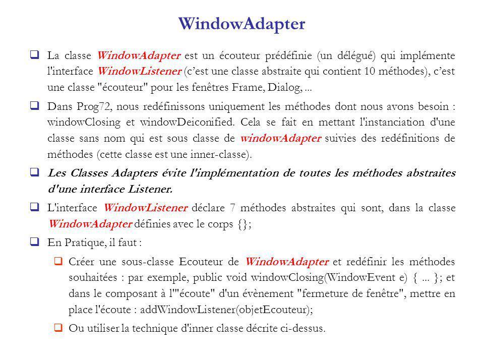 WindowAdapter La classe WindowAdapter est un écouteur prédéfinie (un délégué) qui implémente l interface WindowListener (cest une classe abstraite qui contient 10 méthodes), cest une classe écouteur pour les fenêtres Frame, Dialog,...