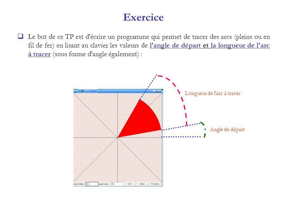 Exercice Le but de ce TP est d écrire un programme qui permet de tracer des arcs (pleins ou en fil de fer) en lisant au clavier les valeurs de l angle de départ et la longueur de l arc à tracer (sous forme d angle également) : Longueur de l arc à tracer Angle de départ