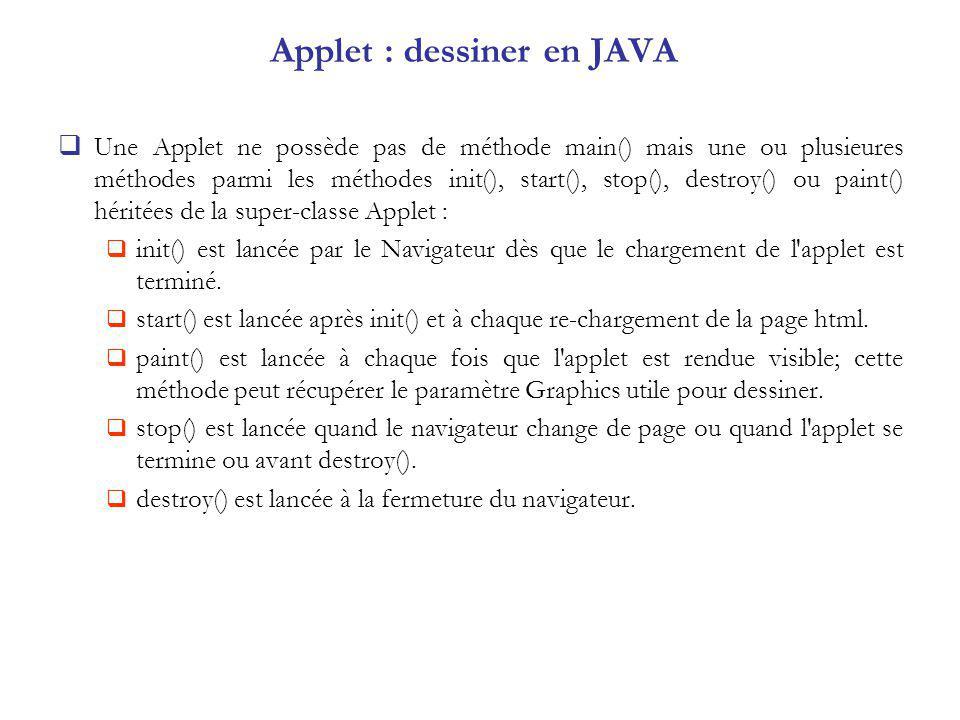 Dessin à la souris import java.awt.*; import java.awt.event.*; import java.applet.Applet; public class Prog39 extends Applet implements MouseListener, MouseMotionListener { int x0, y0; Graphics g; public void init() { x0=0; y0=0; g = getGraphics(); addMouseListener(this); addMouseMotionListener(this); } public void mousePressed (MouseEvent e){ int x,y; x = e.getX(); y = e.getY(); x0=x; y0=y; } public void mouseDragged (MouseEvent e){ int x,y; x = e.getX(); y = e.getY(); g.drawLine (x0, y0, x, y); x0=x; y0=y; } public void mouseEntered(MouseEvent e) {} public void mouseExited(MouseEvent e) {} public void mouseClicked(MouseEvent e) {} public void mouseReleased(MouseEvent e) {} public void mouseMoved(MouseEvent e) {} }