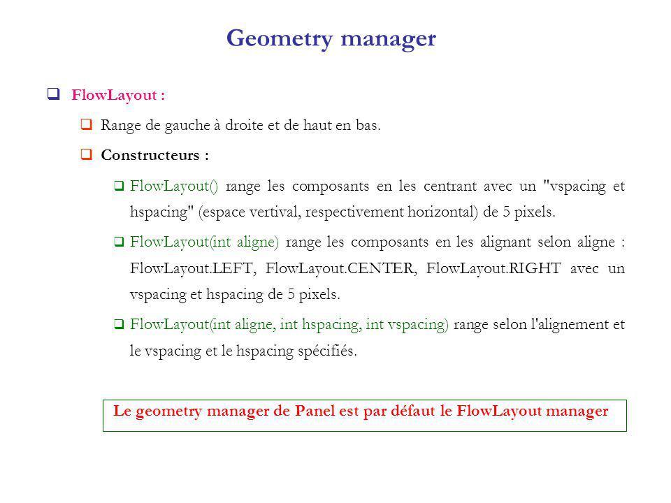 Geometry manager FlowLayout : Range de gauche à droite et de haut en bas.