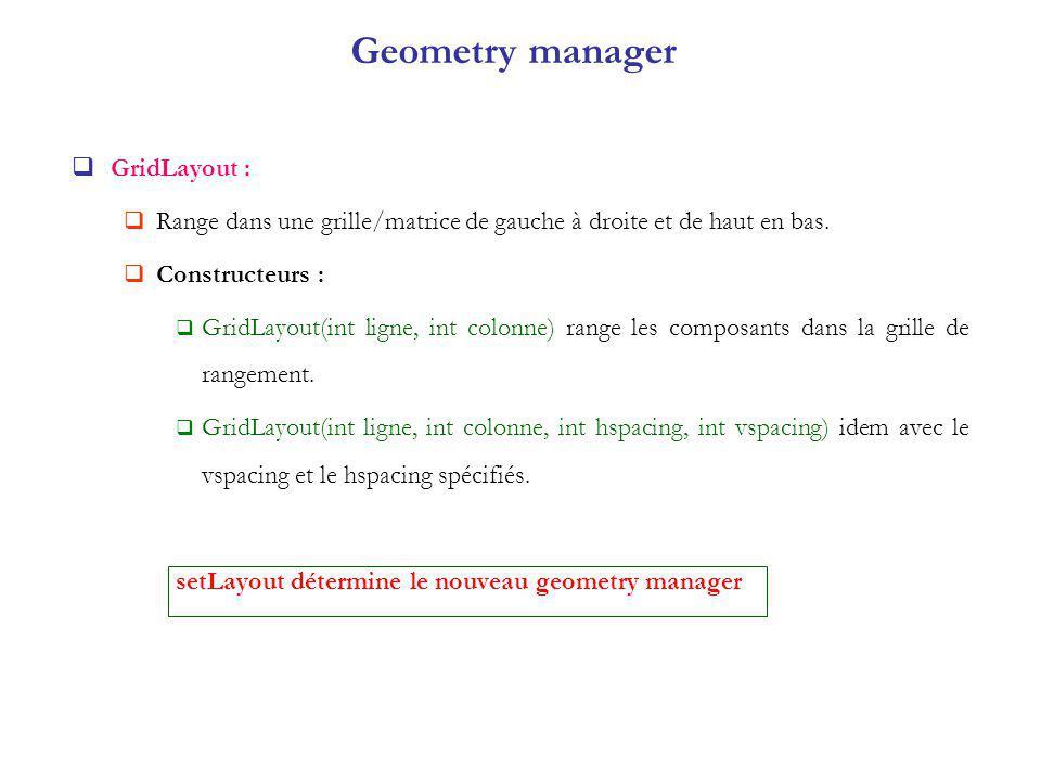 Geometry manager GridLayout : Range dans une grille/matrice de gauche à droite et de haut en bas.