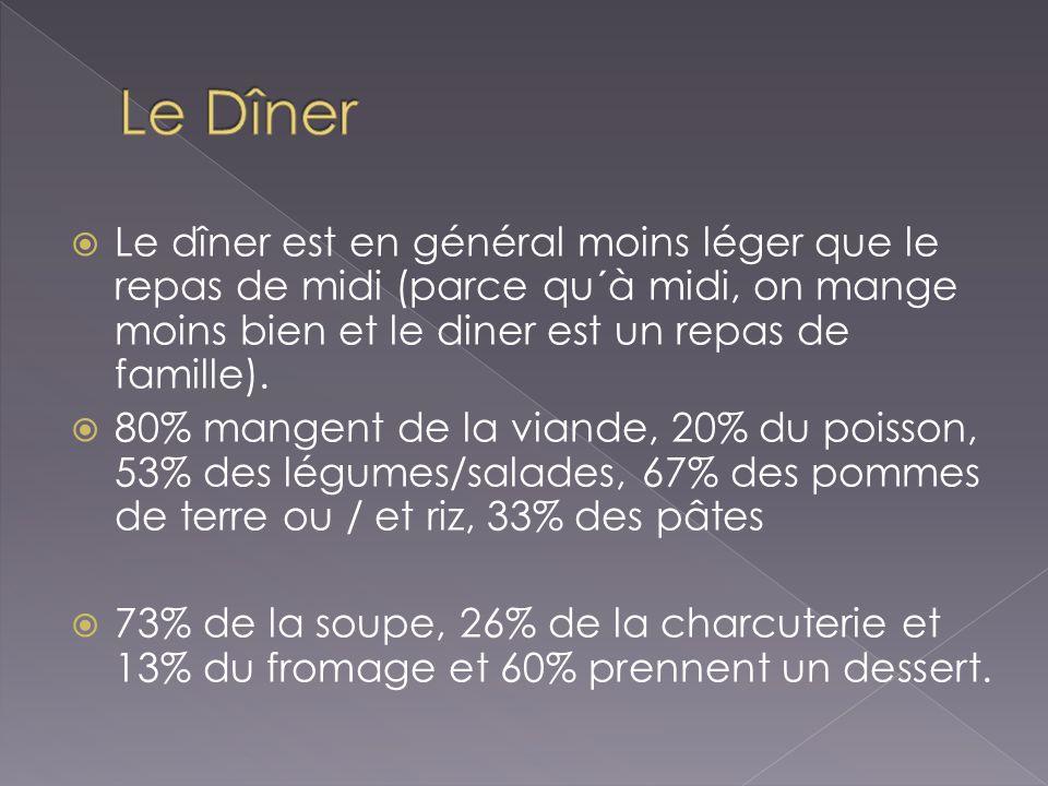 Le dîner est en général moins léger que le repas de midi (parce qu´à midi, on mange moins bien et le diner est un repas de famille). 80% mangent de la