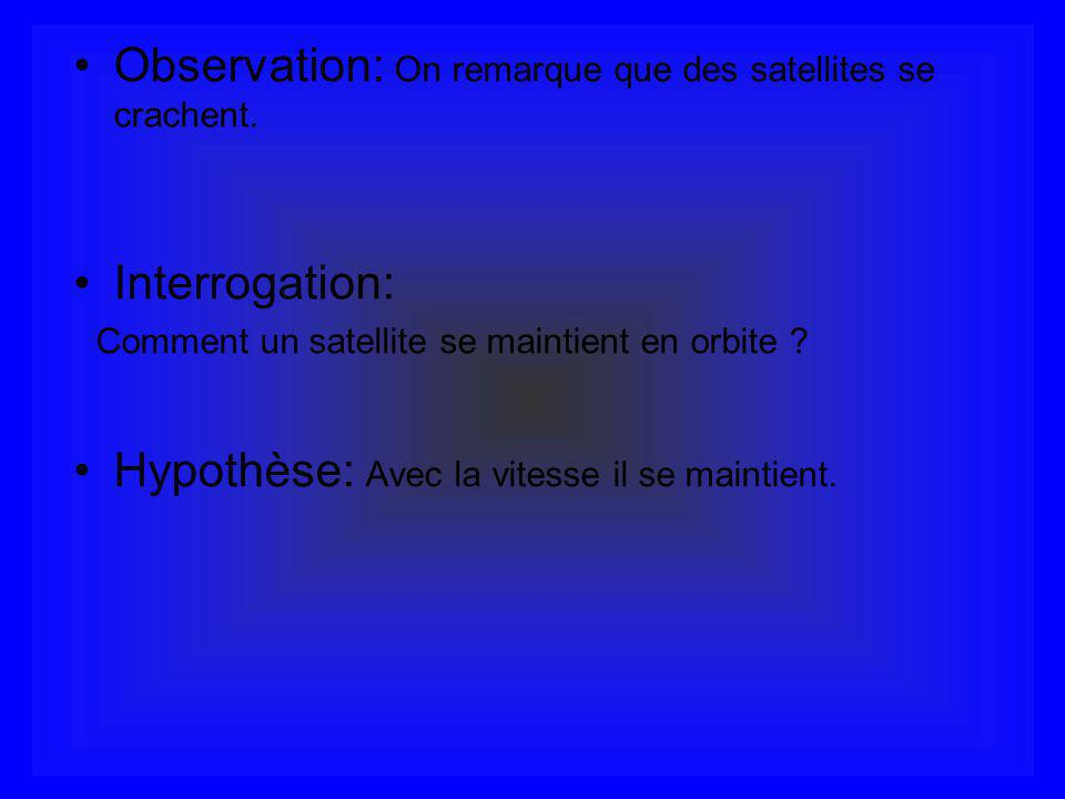 Observation: On remarque que des satellites se crachent. Interrogation: Comment un satellite se maintient en orbite ? Hypothèse: Avec la vitesse il se