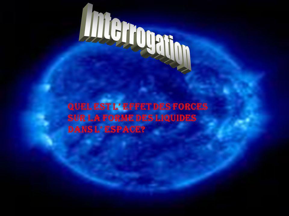 Quel est l effet des forces sur la forme des liquides dans l espace