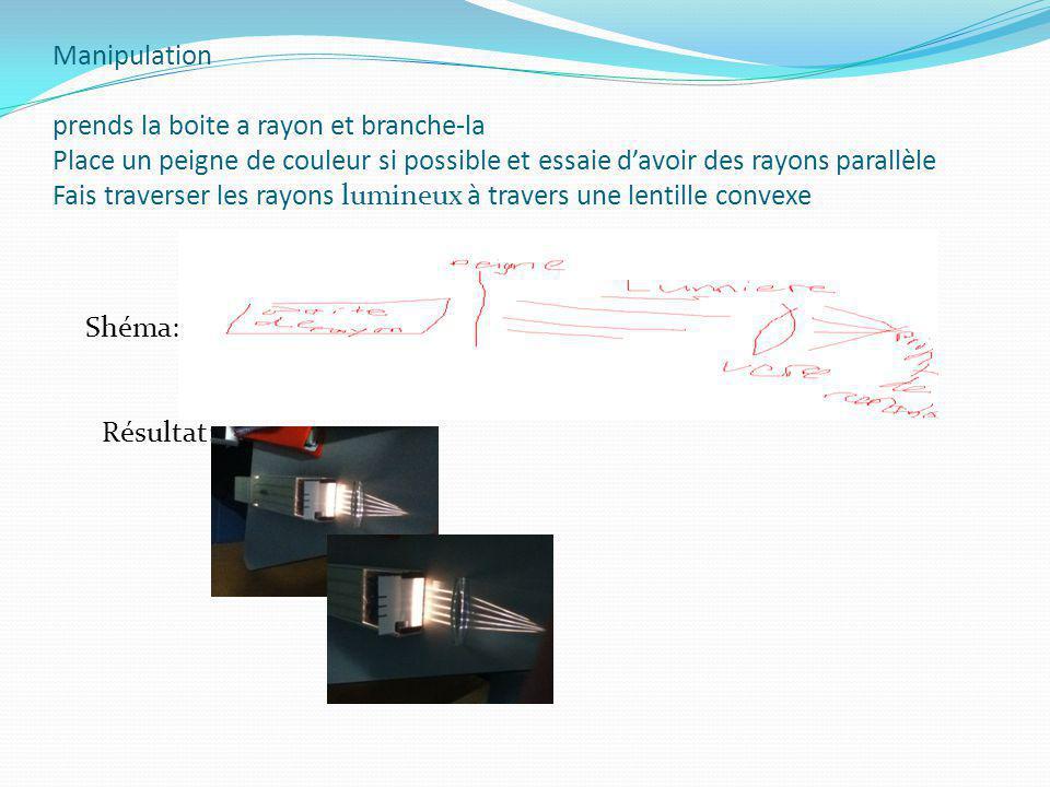 Manipulation prends la boite a rayon et branche-la Place un peigne de couleur si possible et essaie davoir des rayons parallèle Fais traverser les rayons lumineux à travers une lentille convexe Shéma: Résultat: