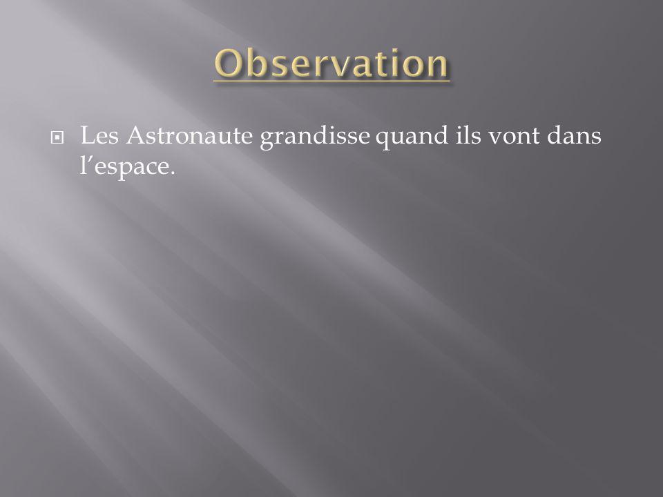 Les Astronaute grandisse quand ils vont dans lespace.