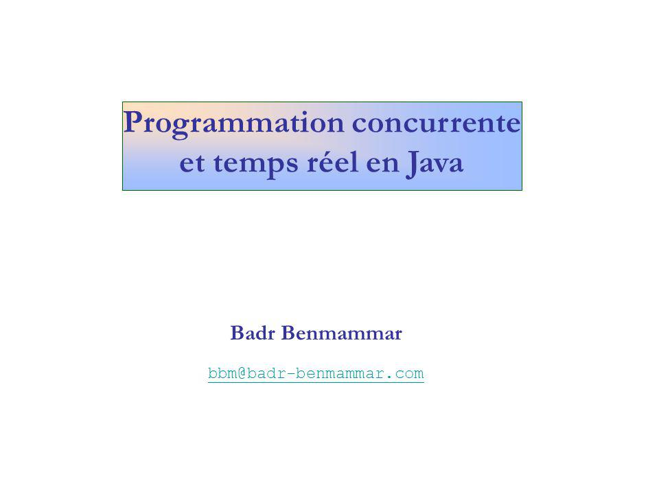 class BavarderEtLancerLePerroquet4 { public static void main(String args[]) { Perroquet4 perroquet = new blabla(); Perroquet4( coco ,5); perroquet.start(); System.out.println ( Thread bavard : + Thread.currentThread().getName()); for (int n=0; n<15; n++) { try { Thread.sleep(1000); } catch(InterruptedException e) { } System.out.println( Thread perroquet isAlive : + perroquet.isAlive()); } private static void blabla() { System.out.println( blabla ); } class Perroquet4 extends Thread { private String cri = null; private int fois = 0; public Perroquet4 (String s, int i) { cri = s; fois = i; } public void run() { System.out.println( Thread perroquet : + Thread.currentThread().getName()); for (int n=0; n<fois; n++) { try { Thread.sleep(1000); } catch(InterruptedException e) { } System.out.println(cri); } Cycle de vie dun Thread