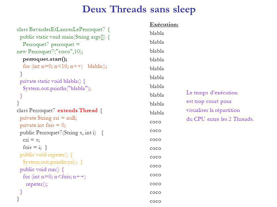 Deux Threads sans sleep class BavarderEtLancerLePerroquet7 { public static void main(String args[]) { Perroquet7 perroquet = new Perroquet7( coco ,10); perroquet.start(); for (int n=0; n<10; n++) blabla(); } private static void blabla() { System.out.println( blabla ); } class Perroquet7 extends Thread { private String cri = null; private int fois = 0; public Perroquet7(String s, int i) { cri = s; fois = i; } public void repeter() { System.out.println(cri); } public void run() { for (int n=0; n<fois; n++) repeter(); } Exécution: blabla coco Le temps dexécution est trop court pour visualiser la répartition du CPU entre les 2 Threads.
