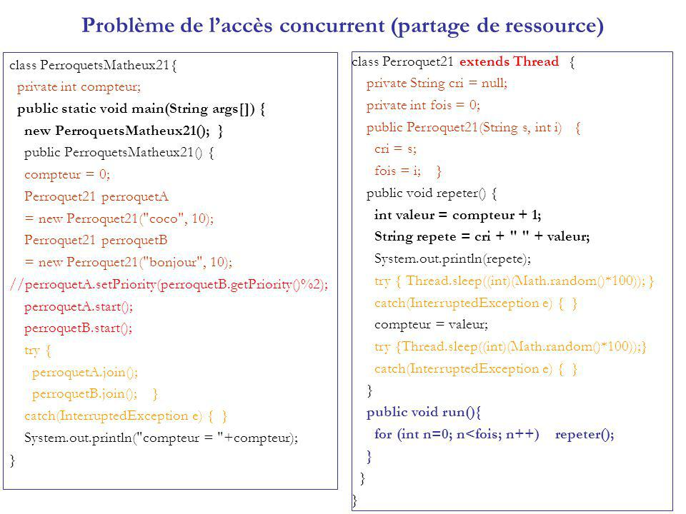 Problème de laccès concurrent (partage de ressource) class PerroquetsMatheux21{ private int compteur; public static void main(String args[]) { new PerroquetsMatheux21(); } public PerroquetsMatheux21() { compteur = 0; Perroquet21 perroquetA = new Perroquet21( coco , 10); Perroquet21 perroquetB = new Perroquet21( bonjour , 10); //perroquetA.setPriority(perroquetB.getPriority()%2); perroquetA.start(); perroquetB.start(); try { perroquetA.join(); perroquetB.join(); } catch(InterruptedException e) { } System.out.println( compteur = +compteur); } class Perroquet21 extends Thread { private String cri = null; private int fois = 0; public Perroquet21(String s, int i) { cri = s; fois = i; } public void repeter() { int valeur = compteur + 1; String repete = cri + + valeur; System.out.println(repete); try { Thread.sleep((int)(Math.random()*100)); } catch(InterruptedException e) { } compteur = valeur; try {Thread.sleep((int)(Math.random()*100));} catch(InterruptedException e) { } } public void run(){ for (int n=0; n<fois; n++) repeter(); }