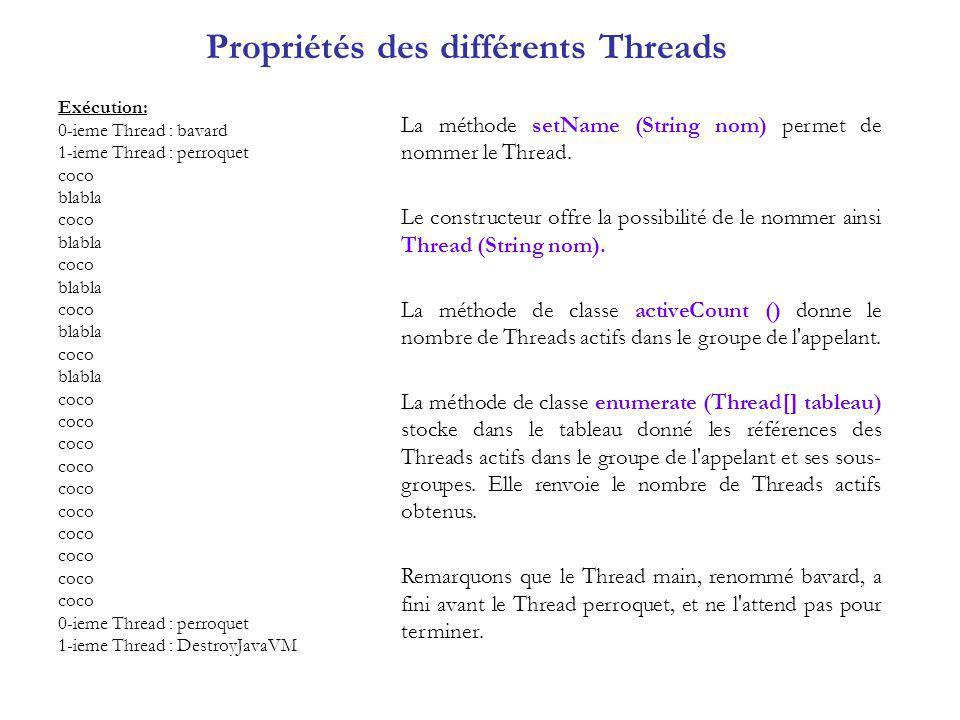 Essayer de Stopper lexécution dun Thread class LancerEtArreterLePerroquet9 { public static void main(String args[]) { Perroquet9 perroquet = new Perroquet9( coco ); perroquet.start(); String reponse= o ; do {System.out.println( voulez-vous que le perroquet continue .