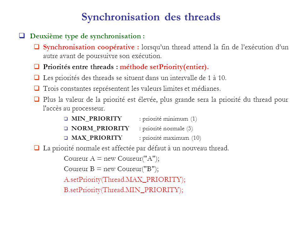 Synchronisation des threads Deuxième type de synchronisation : Synchronisation coopérative : lorsquun thread attend la fin de lexécution dun autre ava