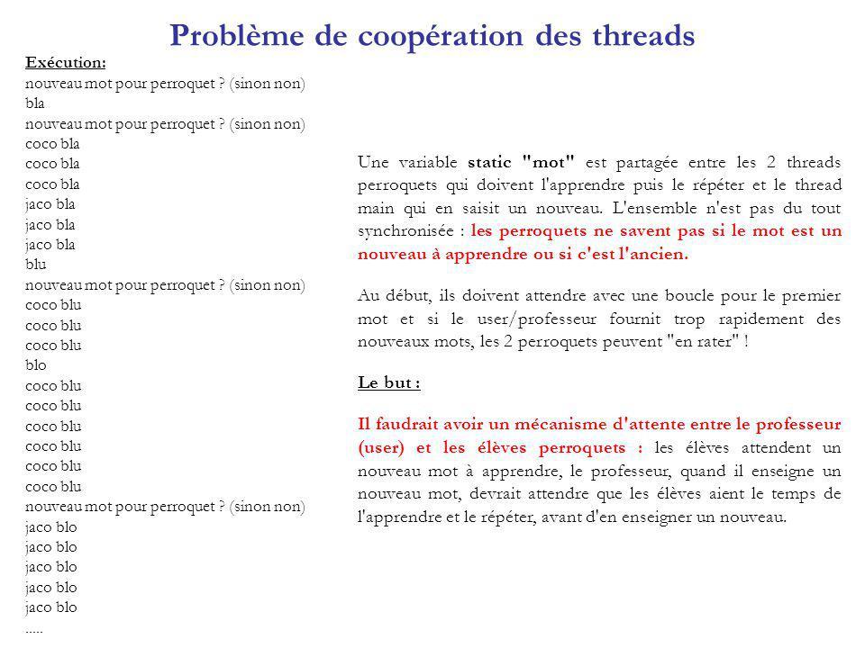 Problème de coopération des threads Exécution: nouveau mot pour perroquet ? (sinon non) bla nouveau mot pour perroquet ? (sinon non) coco bla jaco bla