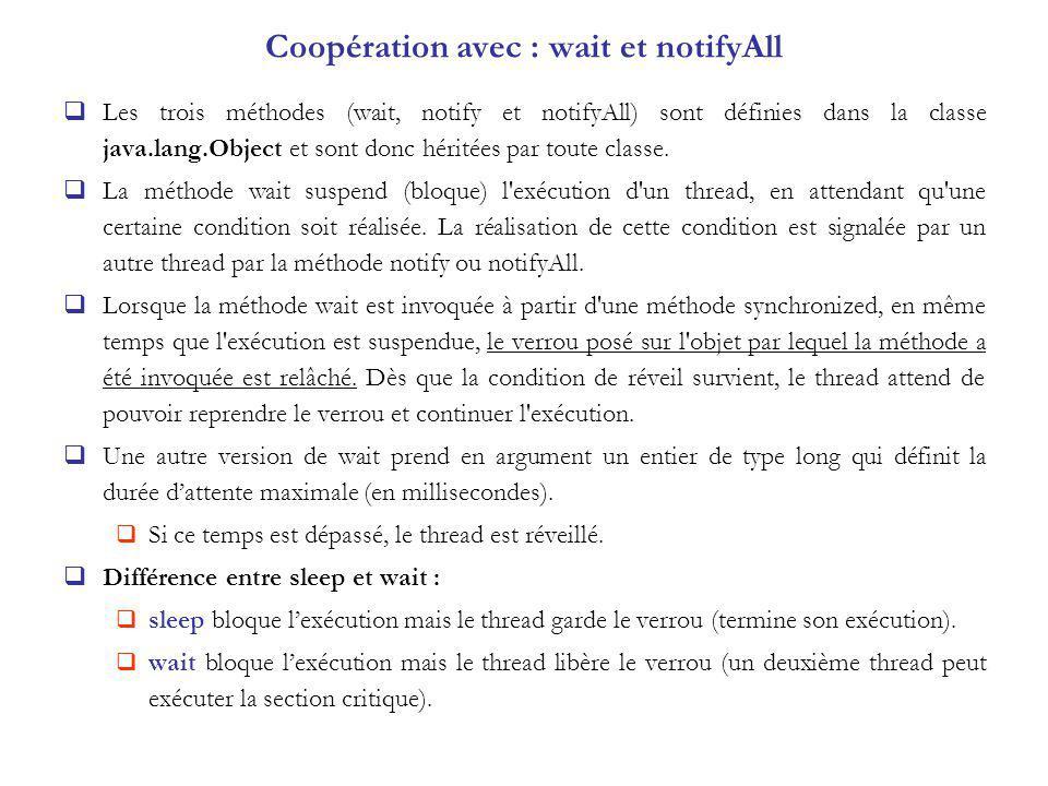 Coopération avec : wait et notifyAll Les trois méthodes (wait, notify et notifyAll) sont définies dans la classe java.lang.Object et sont donc héritée