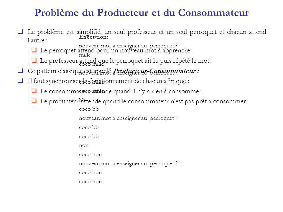 Problème du Producteur et du Consommateur Le problème est simplifié, un seul professeur et un seul perroquet et chacun attend l'autre : Le perroquet a