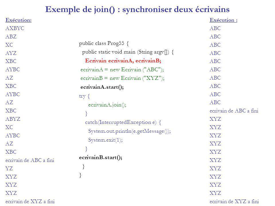 Deux Threads sans sleep class BavarderEtLancerLePerroquet7 { public static void main(String args[]) { Perroquet7 perroquet = new Perroquet7( coco ,10); perroquet.start(); for (int n=0; n<10; n++) blabla(); } private static void blabla() { System.out.println( blabla ); } class Perroquet7 extends Thread { private String cri = null; private int fois = 0; public Perroquet7(String s, int i) { cri = s; fois = i; } public void repeter() { System.out.println(cri); } public void run() { for (int n=0; n<fois; n++) repeter(); } Exécution: blabla coco Le temps dexécution est trop court pour visualiser la répartition du CPU entre les 2 Threads.