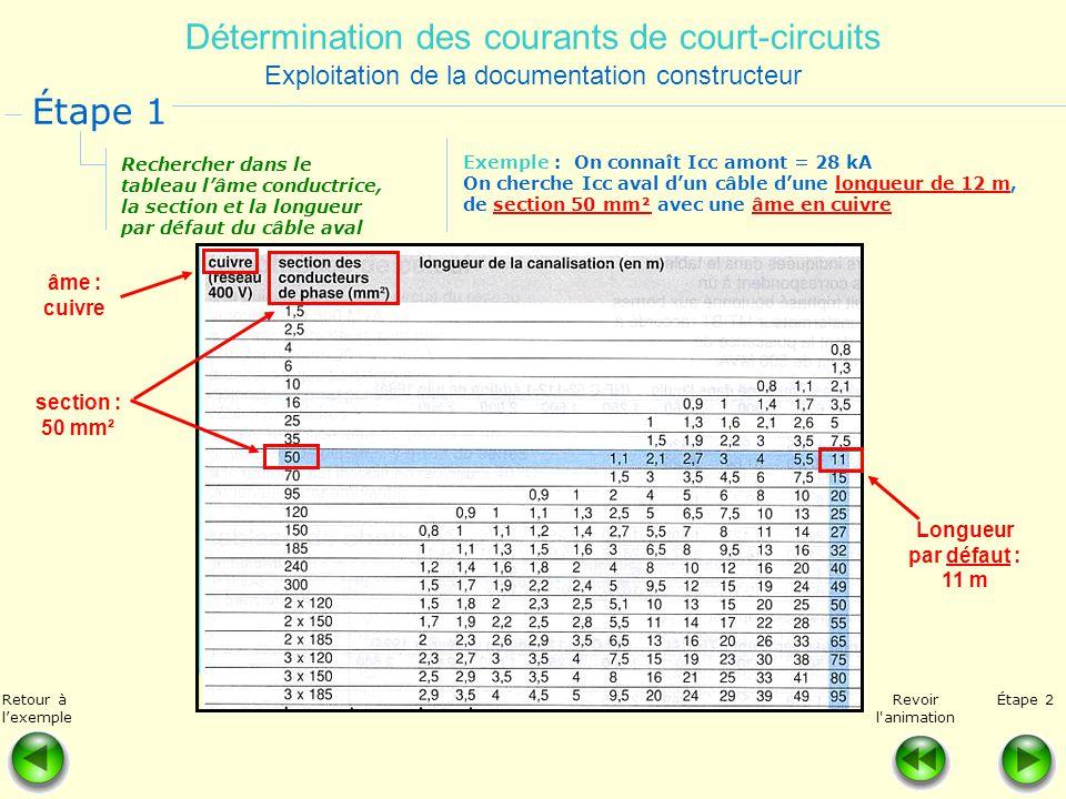 Détermination des courants de court-circuits Exploitation de la documentation constructeur Rechercher dans le tableau lâme conductrice, la section et
