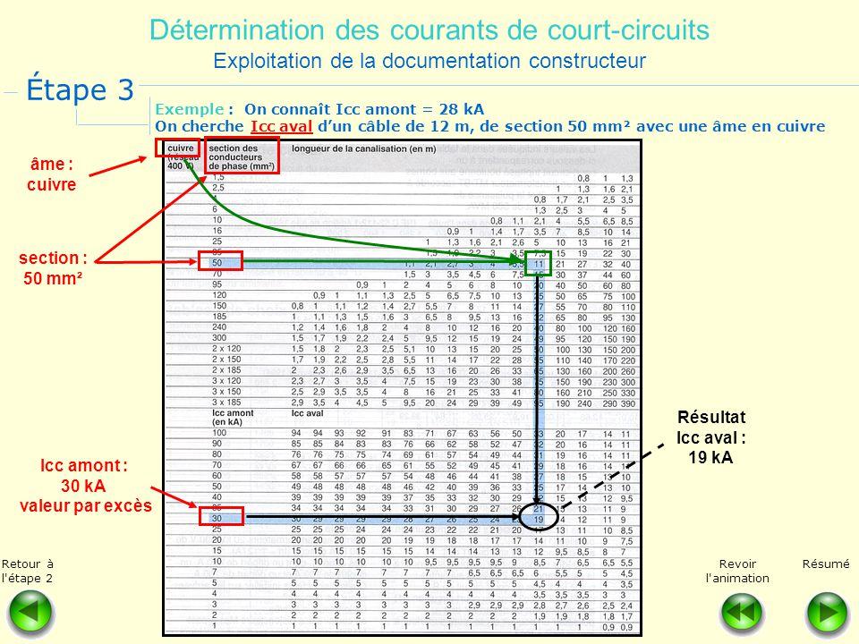 Détermination des courants de court-circuits Exploitation de la documentation constructeur Étape 3 RésuméRetour à l'étape 2 Revoir l'animation Exemple