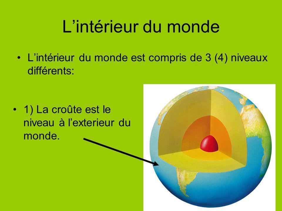 Lintérieur du monde Lintérieur du monde est compris de 3 (4) niveaux différents: 1) La croûte est le niveau à lexterieur du monde.