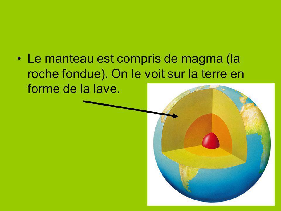 Le manteau est compris de magma (la roche fondue). On le voit sur la terre en forme de la lave.
