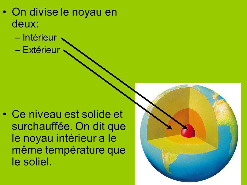 On divise le noyau en deux: –Intérieur –Extérieur Ce niveau est solide et surchauffée. On dit que le noyau intérieur a le même température que le soli