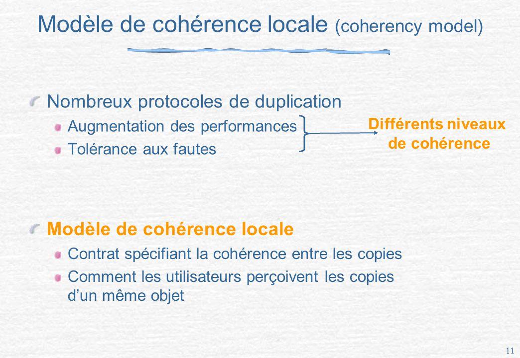 11 Modèle de cohérence locale (coherency model) Nombreux protocoles de duplication Augmentation des performances Tolérance aux fautes Différents niveaux de cohérence Modèle de cohérence locale Contrat spécifiant la cohérence entre les copies Comment les utilisateurs perçoivent les copies dun même objet