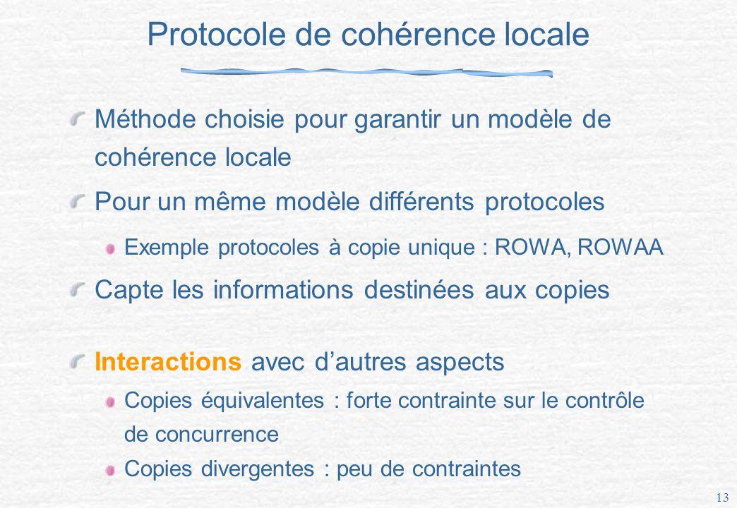 13 Protocole de cohérence locale Méthode choisie pour garantir un modèle de cohérence locale Pour un même modèle différents protocoles Exemple protocoles à copie unique : ROWA, ROWAA Capte les informations destinées aux copies Interactions avec dautres aspects Copies équivalentes : forte contrainte sur le contrôle de concurrence Copies divergentes : peu de contraintes